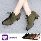 韓系個性百搭綁帶麂皮圓頭方跟鞋/4色/35-43碼 (RX1161-Y701)