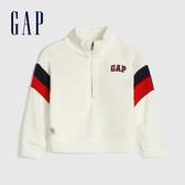 Gap女幼童 Logo撞色條紋半高領連帽杉 577425-徽標印花