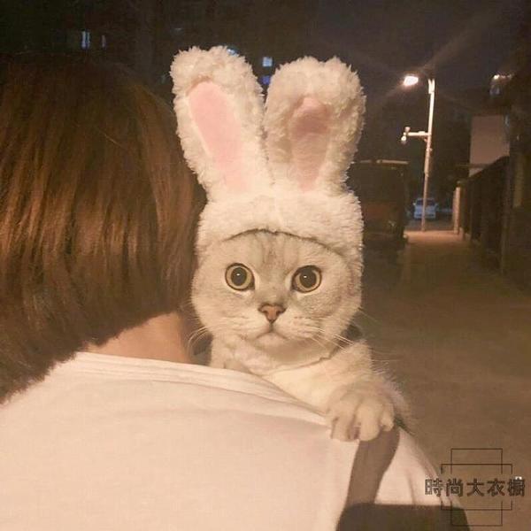 可愛兔子頭套貓頭套貓咪頭飾狗狗寵物帽子【時尚大衣櫥】