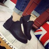 短靴女冬季短靴女百搭英倫復古平底單鞋女保暖學生休閒皮棉鞋 貝芙莉女鞋