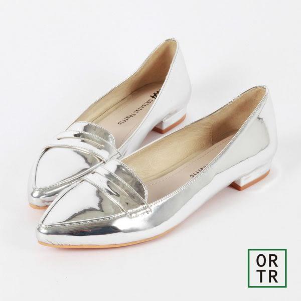 【ORiental TRaffic】知性風微尖楦低跟便鞋-銀色