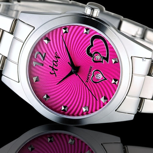 STAR 時代 甜蜜雙心石英錶 9T1603-161S-PE