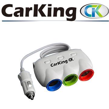 CarKing車用三孔+兩孔USB充電點煙器CK-3200 黑色