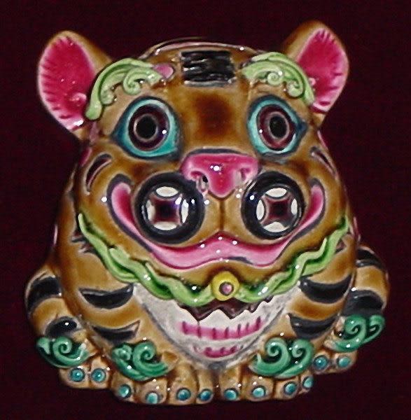 鹿港窯-居家開運商品-台灣國寶交趾陶裝飾壁飾-正方立體框【十二生肖-虎‧寅】免運費送到家
