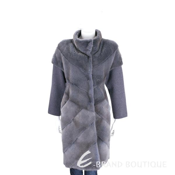 GRANDI furs 灰藍色針織拼接立領皮草大衣(70%WOOL) 1710173-85