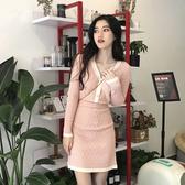 超殺29折 韓國小香風氣質甜美針織套裝長袖裙裝