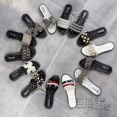 拖鞋女夏外穿時尚新款一字拖百搭韓版水鉆孕婦平底沙灘涼拖鞋   衣櫥の秘密