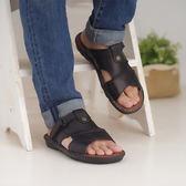 台灣製 男涼鞋 手工縫製男用簡約拖鞋 涼鞋 黑《生活美學》