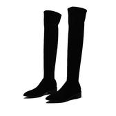 長筒靴 過膝長靴 女鞋冬季潮款中跟絨面鞋子尖頭粗跟純色加絨保暖膝上靴《小師妹》sm2565