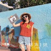夏裝女裝韓版刺繡花朵無袖T恤bf寬松短款上衣顯瘦背心學生打底衫
