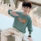 日韓歐美(•‿•)韓版男童 大童秋冬 加絨加厚 秋冬T恤 百搭字母假兩件 卡通長袖上衣
