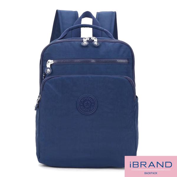 【i Brand】輕盈防潑水素色雙拉鍊尼龍後背包-黑色 MDS-8612-BK