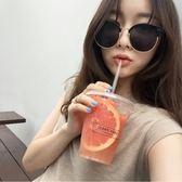 現貨-韓版個性新款復古金屬太陽鏡女墨鏡潮明星同款圓臉大臉開車眼鏡56