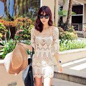 K.J時尚(WUNa07)2016新款韓版網紗鏤空沙灘衣海邊度假針織顯瘦罩衫比基尼泳衣外套