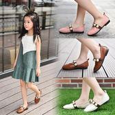 公主鞋 女童皮鞋新款夏季韓版一腳蹬公主鞋奶奶鞋休閑單鞋兒童豆豆鞋