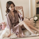 睡袍女春秋夏季睡裙女日式和服性感睡衣冰絲綢短袖繫帶浴袍 衣櫥秘密