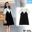 【V3113】shiny藍格子-微夏甜氛‧黑白撞色假兩件連身裙