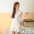 【AnZa】蕾絲緹花縷空長袖花擺裙洋裝