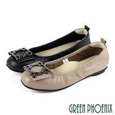 U73-25755 女款全真皮娃娃 花邊框壓紋全真皮平底娃娃鞋【GREEN PHOENIX】