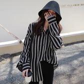 (全館一件免運)DE SHOP~(GU-1799)條紋寬鬆韓國上衣休閒長袖襯衫