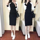 針織洋裝     2018新款長袖兩件套針織毛衣套裝包臀連身裙