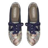 Cocorose 真皮休閒鞋 綁帶配色摺疊鞋 蛇紋藍