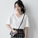 2021新款白色V領T恤女夏寬鬆韓版純白短袖學生素色短款純棉上衣 童趣屋 免運