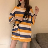 短袖T恤 夏季2021年新款韓版中長款寬松條紋印花T恤設計感小眾短袖上衣女