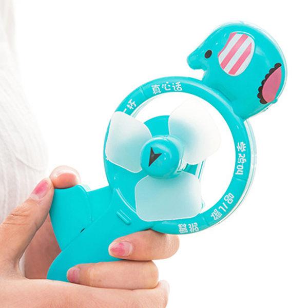 【遊戲風扇】大象造型環保免電池手壓電風扇 小象迷你小風扇 遊戲轉盤
