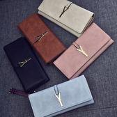 短皮夾主韓版女式長款錢包時尚三折女士搭扣手拿包多卡位 艾維朵