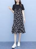大碼女裝2020年夏新款寬鬆遮肚小雛菊拼接假兩件中長款T恤連身裙 貝芙莉