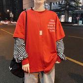 拼接衛衣男士假兩件秋季外套韓版潮流寬鬆上衣男衣服長袖t恤男裝