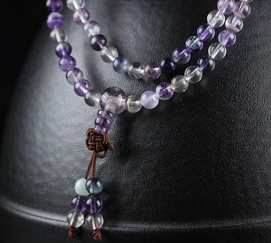 [協貿國際]天然螢石108顆佛珠手鍊單條價