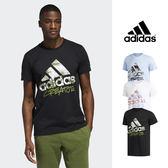 【GT】Adidas 黑白藍 短袖T恤 塗鴉 印花 運動 休閒  籃球 上衣 短T 愛迪達 基本款 Logo