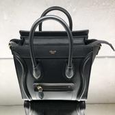 ■專櫃84折■全新真品■Celine 瑟琳 袖珍型平滑小牛皮 Nano Luggage 可斜背2用包 金釦黑色