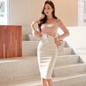 歐媛韓范 高腰優雅蝴蝶結 氣質ol職業包臀半身裙 一步裙