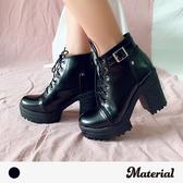 厚底短靴 黑色簡約高跟短靴 MA女鞋 T7789