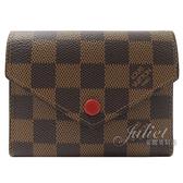 Louis Vuitton LV N41659 VICTORINE 棋盤格紋零錢中短夾.紅邊 全新 預購【茱麗葉精品】