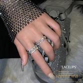 2件套 戒指女時尚潮流水鑽開口食指指環【繁星小鎮】