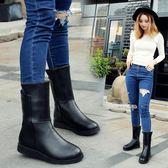 靴子女加絨短靴中筒靴平底馬丁靴女靴英倫風「極有家」