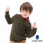 GLOBAL WORK童素色條紋圓領花紋粗針織下襬縮口長袖毛衣-五色