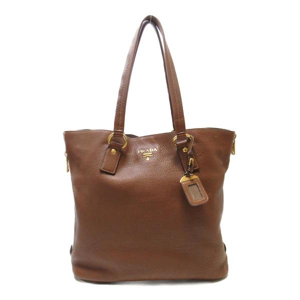 PRADA 普拉達 棕色牛皮肩背包 Tote Shoulder Bag【二手名牌BRAND OFF】