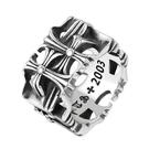 《 QBOX 》FASHION 飾品【QR0748】精緻個性歐美方形十字架鑄造鈦鋼戒指/戒環