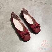 蝴蝶結豆豆鞋平底方頭單鞋女淺口軟皮蛋卷平跟軟底奶奶鞋【少女顏究院】