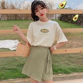 套裝 兩件式 夏季2019流行韓版女裝T恤上衣 高腰綁帶半身裙套裝網紅兩件套氣質 快速出貨