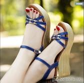 涼鞋 真皮坡跟涼鞋女仙女風新款高跟鞋女鬆糕厚底大碼女鞋 俏俏家居