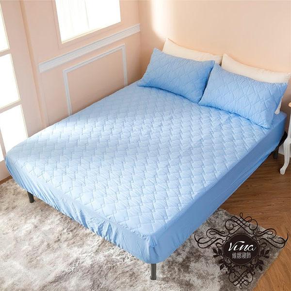 ↘ 單人床包+枕套1件 ↘ MIT台灣精製  透氣防潑水技術處理床包式保潔墊(淺藍色)