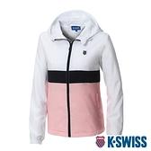 K-SWISS Attachable Hoody Jkt抗UV防風外套-女-白/粉紅