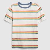 Gap男童清爽撞色條紋圓領短袖T恤573630-彩虹條紋