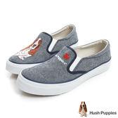 Hush Puppies 巴吉度狗繡花咖啡紗中性懶人鞋-灰藍